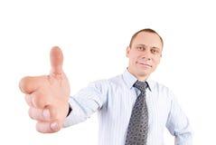 Fröhlicher junger Mann mit der großen Hand Stockfotografie