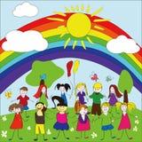 Fröhlicher Kindhintergrund mit Regenbogen und Sonne Lizenzfreie Stockbilder