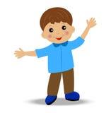 Fröhlicher kleiner Junge auf weißem Hintergrund Lizenzfreies Stockfoto