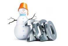 Fröhlicher Schneemann des guten Rutsch ins Neue Jahr 2020 auf einer weißen Illustration des Hintergrundes 3D, Wiedergabe 3D stockfoto