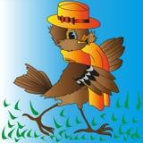 Fröhlicher Spatz Browns in einem gelben Hut und durch einen Schal Lizenzfreie Stockfotografie