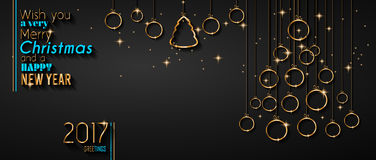 Fröhlicher Weihnachtsbaum-Flieger mit goldenem elegantem Flitter und glühenden hellen Sternen stock abbildung
