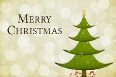 Fröhlicher Weihnachtsbaum-Gruß, gemasert Lizenzfreies Stockfoto