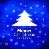 Fröhlicher Weihnachtsbaum-Kartenzusammenfassungs-Blauhintergrund Lizenzfreie Stockbilder