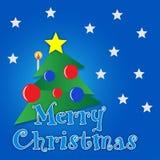 Fröhlicher Weihnachtsbaum mit Goldstern Lizenzfreie Stockfotos