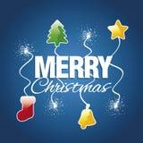 Fröhlicher Weihnachtsbaum-Sternglockenstrumpffunkenfeuerwerks-Blauvektor Stockbilder