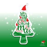 Fröhlicher Weihnachtsbaum und Typografiedesign Stockfotos
