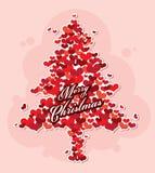 Fröhlicher Weihnachtsbaum vom Herzen Lizenzfreies Stockbild