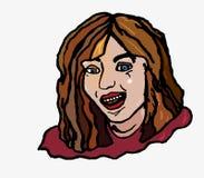 Fröhliches einfaches Mädchenlachen mit den offenen Lächelnzähnen Stockbild