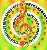 Fröhliches musikalisches Plakat mit Violinschlüssel und Herzen Stockfotografie