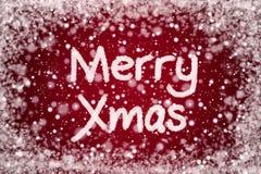 Fröhliches Weihnachten auf Weihnachtsrot-Hintergrund lizenzfreie abbildung