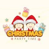 Fröhliches Weihnachtsfestfeiereinladungs-Kartendesign lizenzfreie abbildung