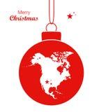 Fröhliches Weihnachtsmotiv mit Karte von Nordamerika Stockfoto