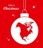 Fröhliches Weihnachtsmotiv mit Karte von Nordamerika Stockfotografie