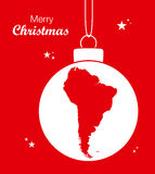 Fröhliches Weihnachtsmotiv mit Karte von Südamerika Stockbilder