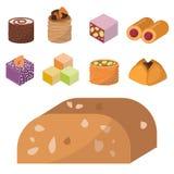 Fröjder för sötma för bageri för kaka för choklad för sortiment för läcker för efterrätt för sötsaköst konfekt för mat hemlagade  stock illustrationer