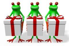 Frösche und Geschenkboxen der Karikatur 3D Stockfoto