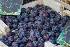 Früchte auf einem lokalen ländlichen Markt im Sommermonat Juli der Stadt Metz stockbilder