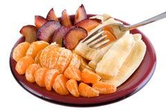 Früchte auf Teller stockfotografie