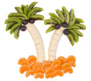 Früchte gedient auf eine lustige Art Stockbild