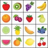 Früchte, Gingham-Feld Stockbild