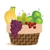 Früchte im Erntekorbpicknick im Freien - Vektorikone lizenzfreie abbildung