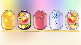 Früchte im Glashintergrund Stockfotografie