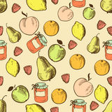 Früchte im nahtlosen Muster der Retro- Art lizenzfreie abbildung