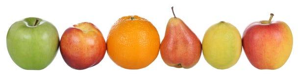 Früchte mögen die Orange, Zitrone, Pfirsich, Birne und Äpfel lokalisiert auf wh Lizenzfreie Stockbilder