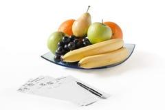 Früchte mit Rezepten Stockfoto