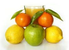 Früchte mit Saft Stockfotos