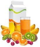 Früchte u. Saft Stockbild