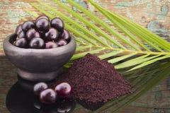 Früchte und acai powde Lizenzfreie Stockbilder