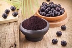 Früchte und acai powde Stockfotografie