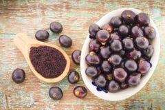 Früchte und acai powde Stockbilder
