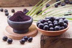 Früchte und acai powde Lizenzfreie Stockfotos