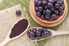 Früchte und acai Pulver Stockfotos