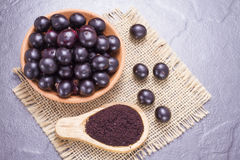 Früchte und acai Pulver Stockfoto