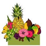 Früchte und Blumen Auch im corel abgehobenen Betrag Stockfoto