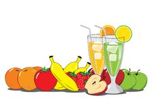 Früchte und Cocktails vektor abbildung