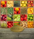 Früchte und Hülsenfrüchte beschriftet Stockfotos
