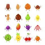 Früchte und nuts Held Glückliches Lebensmittel, große Sammlung des vegetarischen Freundlebensmittels Nuss, Ananas, Kirsche Zitron lizenzfreie abbildung