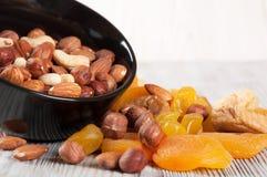 Früchte und verschiedene Nüsse Lizenzfreies Stockfoto