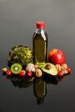 Früchte Vegatables und Olivenöl Lizenzfreie Stockfotos