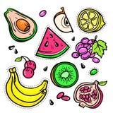 Früchte - Vektor lokalisierte die Retro- eingestellten Aufkleber Lizenzfreie Stockbilder