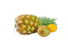 Früchte von Ananas, von Kiwi und von Tangerine Stockfoto