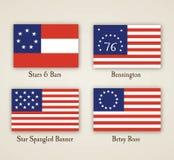 Frühe amerikanische Flaggen stock abbildung