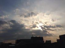 frühe Sonne zum einzustellen stockfoto