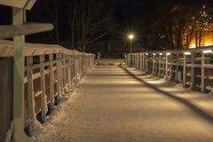 Früher einfrierender Abend auf der Brücke Stockbild