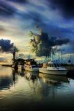 Früher Morgen auf einem Pier stockfotografie